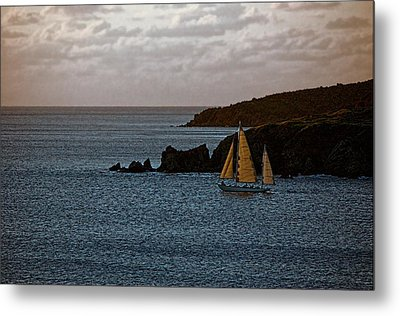 Metal Print featuring the photograph Ship Sailing At Dawn by Pamela Blizzard