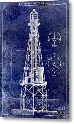 Ship Shoal Light House Blueprint Metal Print