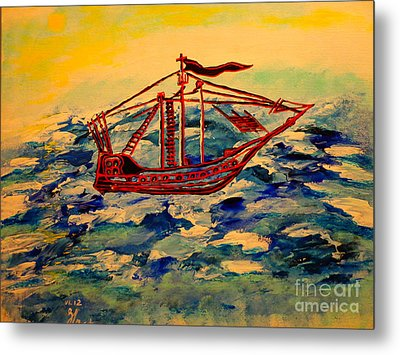 Metal Print featuring the painting Ship.abstract. by Viktor Lazarev
