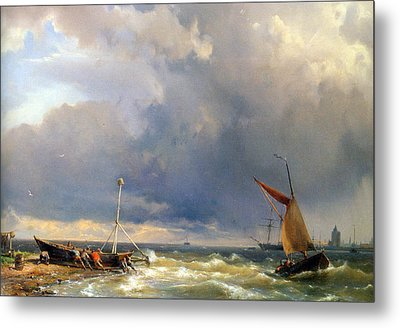 Shipping In A Stiff Breeze Metal Print by Hermanus Koekkoek