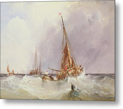 Shipping In The Solent 19th Century Metal Print by George the Elder Chambers