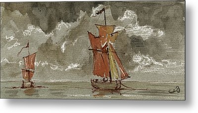 Ships At Sea Metal Print