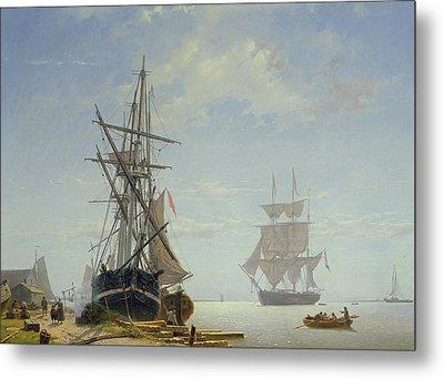 Ships In A Dutch Estuary Metal Print by WA Van Deventer