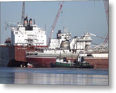 Ships In Harbor Metal Print