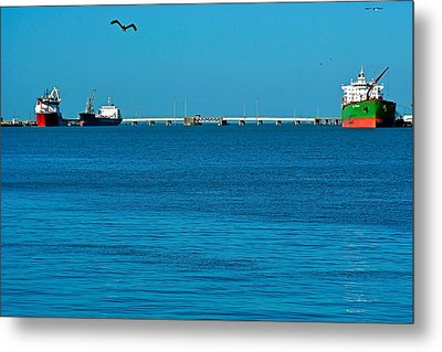 Ships  In Harbor Metal Print