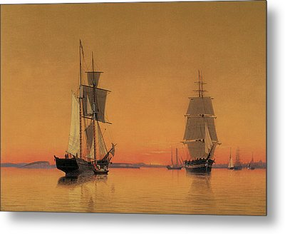 Ships In The Boston Harbor At Twilight Metal Print