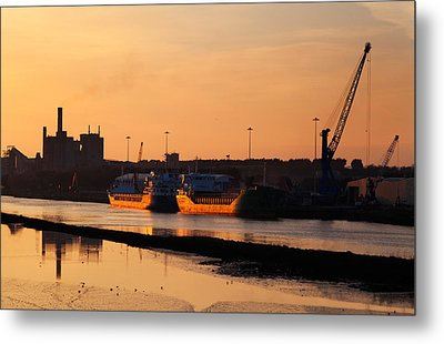 Ships Moored At The New Docking Metal Print by Panoramic Images
