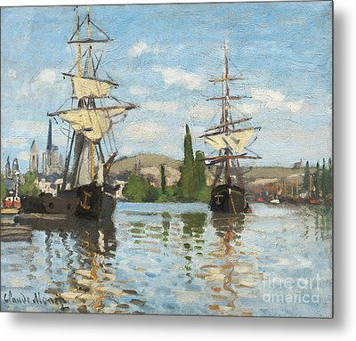 Ships Riding On The Seine At Rouen Metal Print