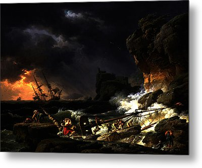 Metal Print featuring the digital art Shipwreck In A Thunderstorm by Joseph Vernet