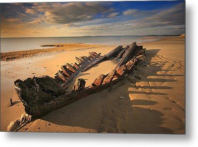 Shipwreck On Cape Cod Beach Metal Print by Dapixara Art