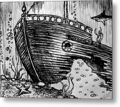 Metal Print featuring the painting Shipwreck by Salman Ravish