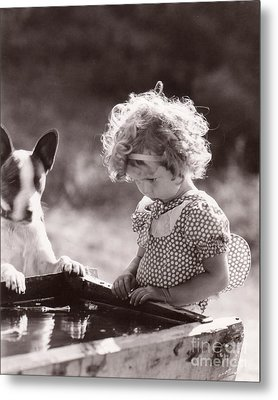 Shirley Temple And Dog - Sepia Metal Print by MMG Archives