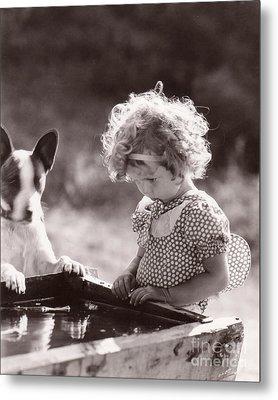 Shirley Temple And Dog - Sepia Metal Print