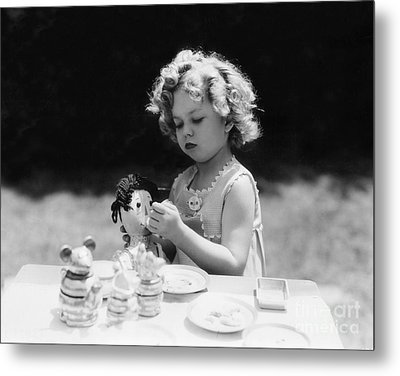 Shirley Temple Tea Party With Doll Metal Print by MMG Archives