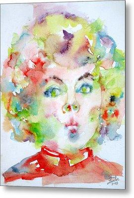 Shirley Temple - Watercolor Portrait.2 Metal Print