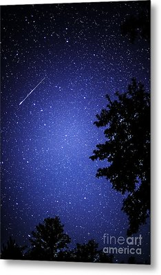 Shooting Star And Satellite Metal Print by Thomas R Fletcher