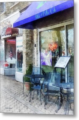 Shopfront - Music And Coffee Cafe Metal Print by Susan Savad