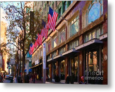 Shopping Along Market Street In San Francisco - 5d20712 Metal Print by Wingsdomain Art and Photography