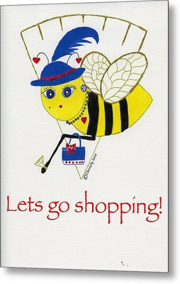 Shopping Bee Gilda Metal Print by Christy Woodland