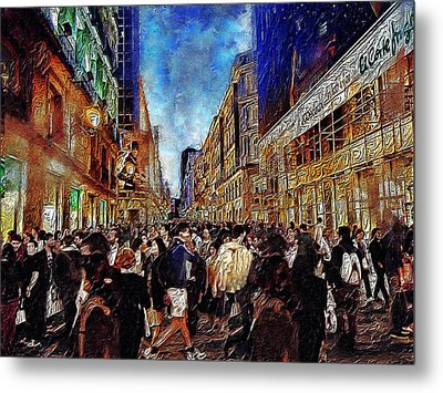 Shopping Madness Metal Print by Cary Shapiro