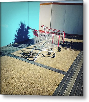 Shopping Trolleys  Metal Print by Les Cunliffe