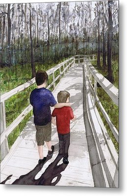 Metal Print featuring the painting Short Walk Long Pier by June Holwell