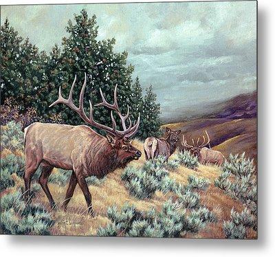 Metal Print featuring the painting Showdown by Craig T Burgwardt