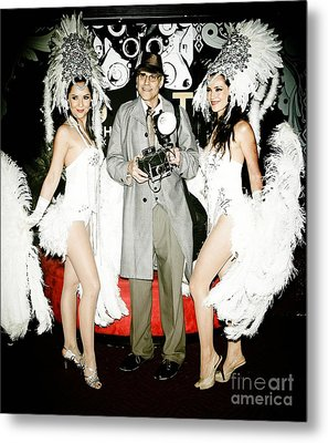 Showgirls And Photographer With Polaroid Metal Print by Nina Prommer