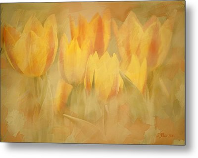 Metal Print featuring the digital art Showtime Tulips by Linda Blair