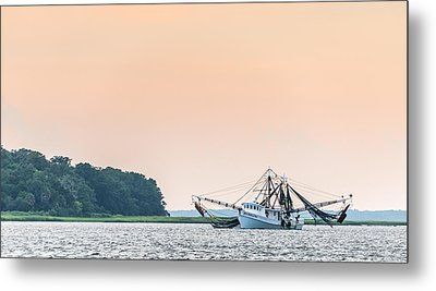 Shrimp Boat On The Edisto River - Fishing Boat Photograph Metal Print by Duane Miller