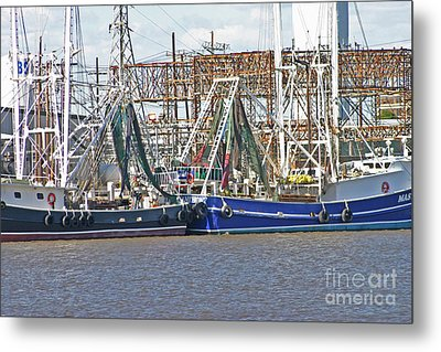 Shrimp Boats 1 Port Arthur Texas Metal Print by D Wallace