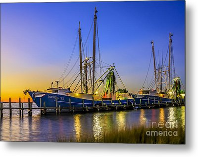 Metal Print featuring the photograph Shrimp Boat Sunset by Paula Porterfield-Izzo