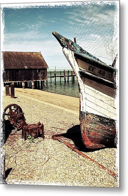 Shrimping Boat At China Camp Metal Print by Amy Fearn