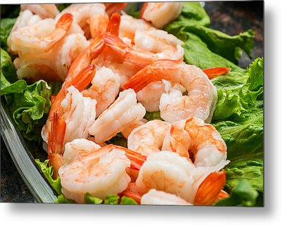 Shrimps On A Plate Metal Print
