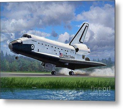 Shuttle Endeavour Touchdown Metal Print by Stu Shepherd