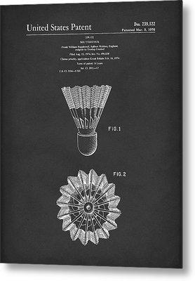 Shuttlecock 1976 Patent Art Black Metal Print