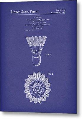 Shuttlecock 1976 Patent Art Blue Metal Print