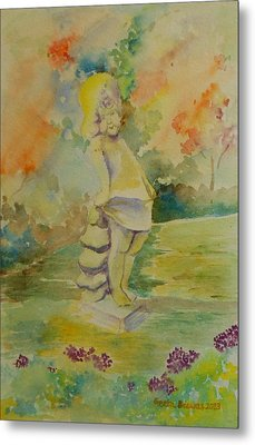 Shy Garden Angel Metal Print