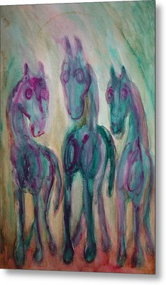 Green Horses Are Shy But Curious  Metal Print