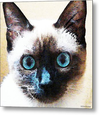 Siamese Cat Art - Black And Tan Metal Print by Sharon Cummings
