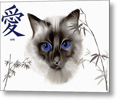 Metal Print featuring the painting Siamese Love by Elaine Manley