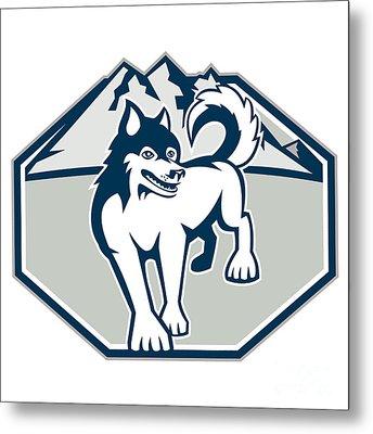 Siberian Husky Dog Mountain Retro Metal Print by Aloysius Patrimonio