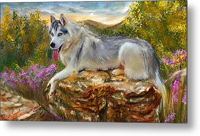 Siberian Leisure - Siberian Husky Painting Metal Print by Lourry Legarde