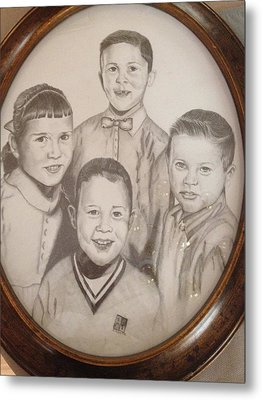 Metal Print featuring the drawing Siblings by Sharon Schultz
