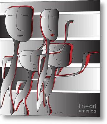 Metal Print featuring the digital art Side By Side by Iris Gelbart