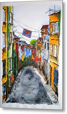 Side Street Metal Print by Zaira Dzhaubaeva