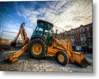 Side View Of A Backhoe At Sunset Metal Print
