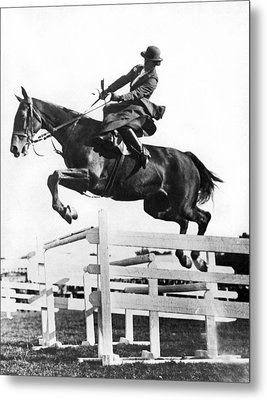 Sidesaddle Jumps At Horse Show Metal Print by Underwood Archives