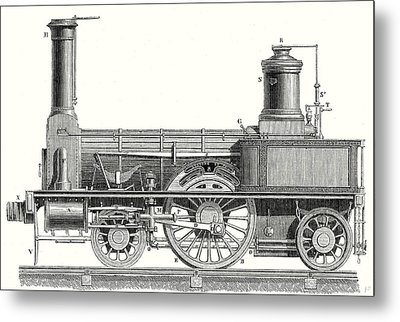 Sideview Of A Locomotive Showing The Mechanism Of The Engine Metal Print