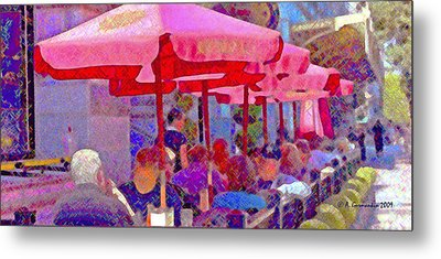 Metal Print featuring the photograph Sidewalk Cafe Digital Painting by A Gurmankin